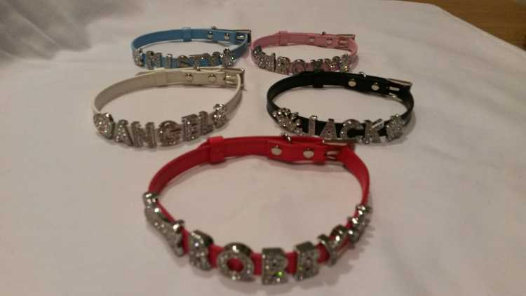 DAZZLING RHINESTONE NAME COLLARS - SMALL DOGS